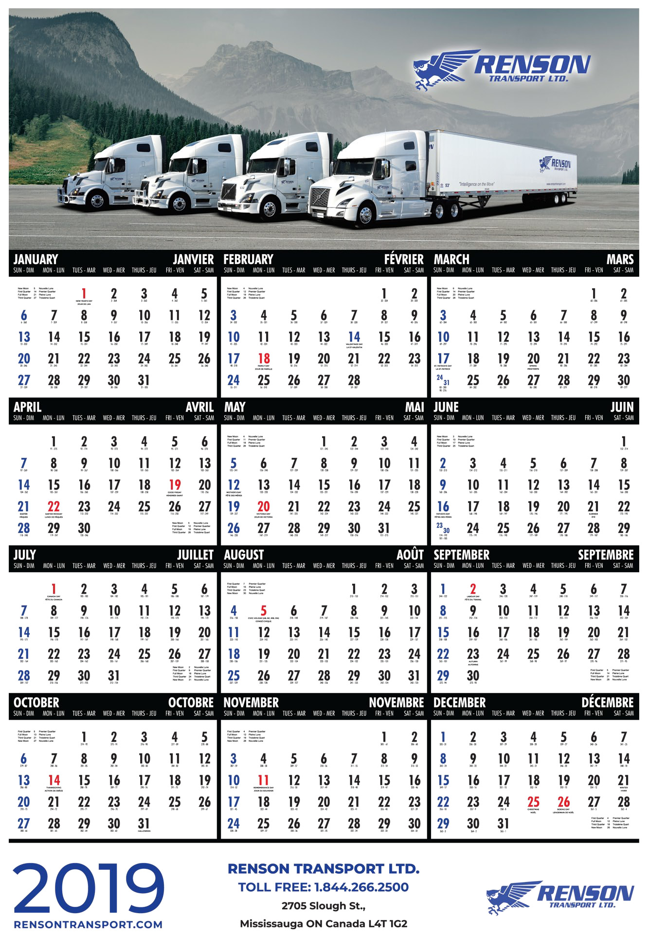 Renson Transport Calendar 2019